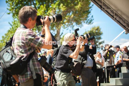 Pressefolk foran Hovedscenen