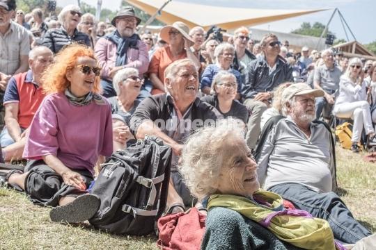 Folkemødegæster på græsset foran scenen